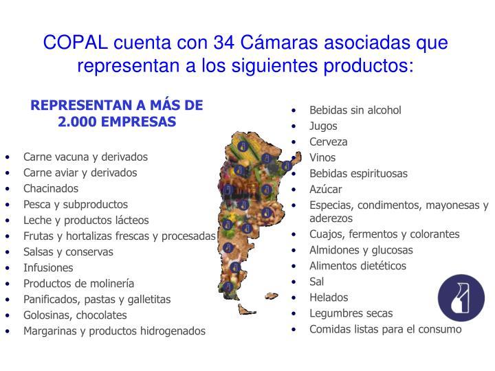 COPAL cuenta con 34 Cámaras asociadas que representan a los siguientes productos: