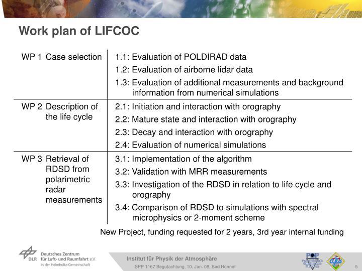 Work plan of LIFCOC