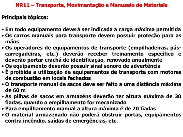 NR11 – Transporte, Movimentação e Manuseio de Materiais