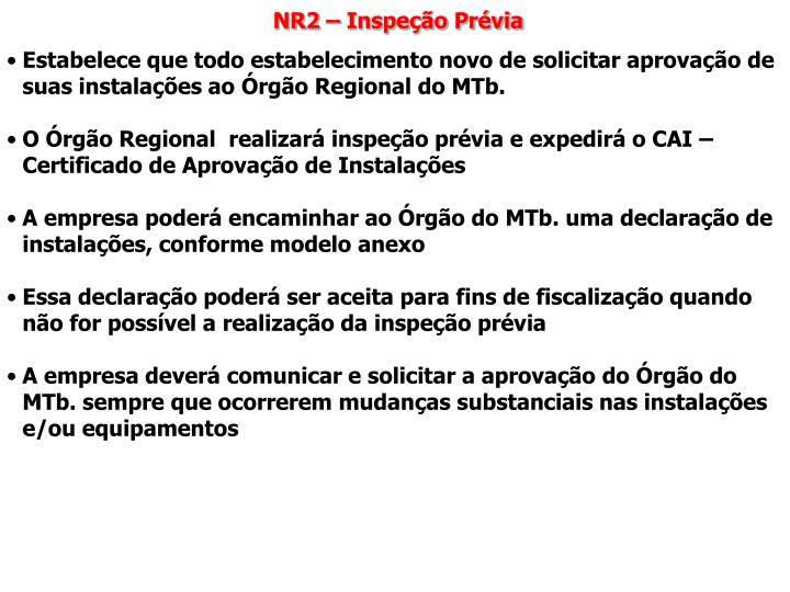 NR2 – Inspeção Prévia
