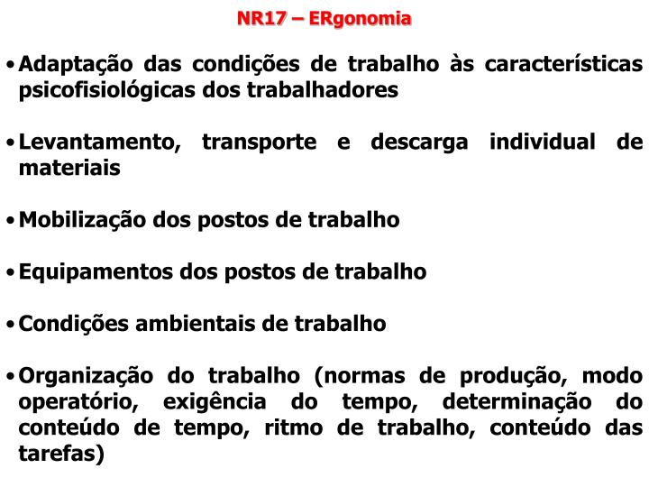 NR17 – ERgonomia