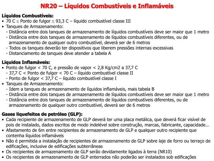 NR20 – Líquidos Combustíveis e Inflamáveis