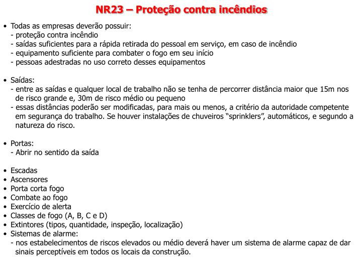 NR23 – Proteção contra incêndios