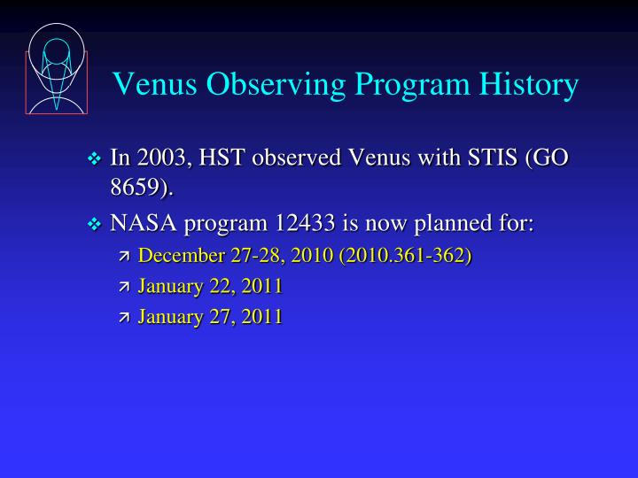 Venus Observing Program History