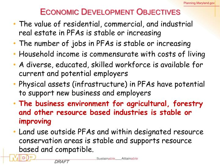 Economic Development Objectives