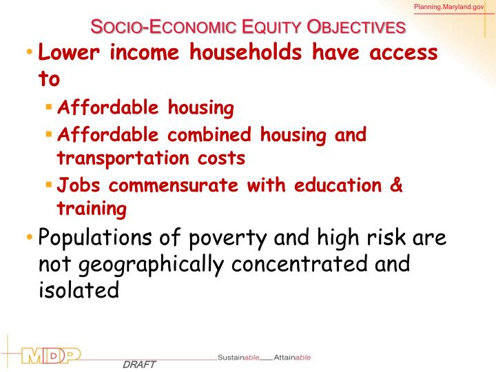Socio-Economic Equity Objectives