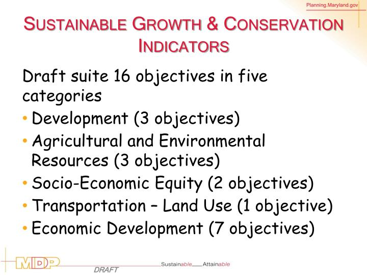 Sustainable Growth & Conservation Indicators