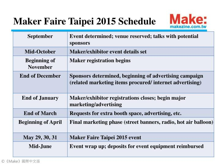 Maker Faire Taipei 2015 Schedule