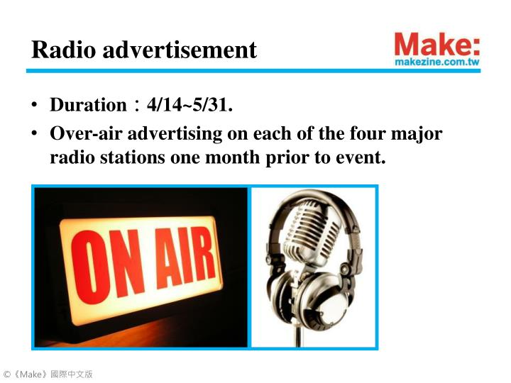 Radio advertisement