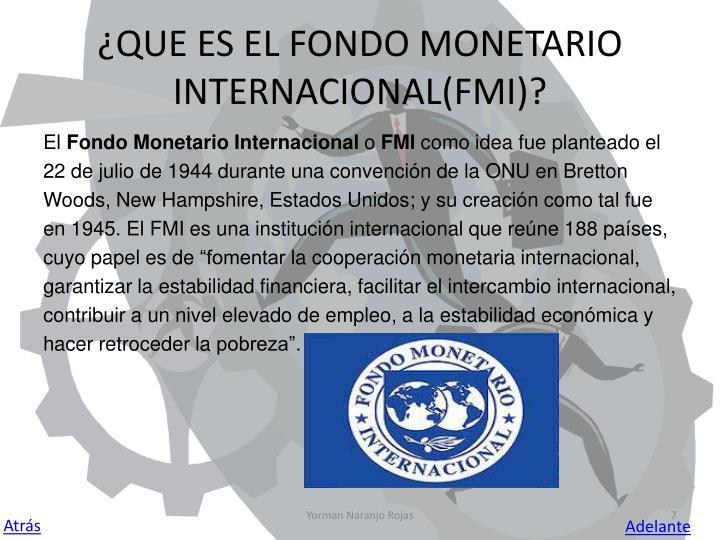 ¿QUE ES EL FONDO MONETARIO INTERNACIONAL(FMI)?