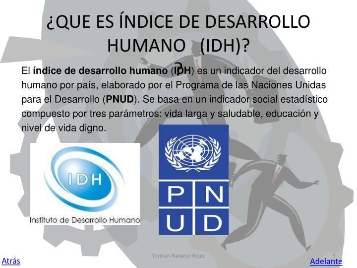 ¿QUE ES ÍNDICE DE DESARROLLO HUMANO   (IDH)?
