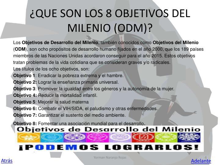 ¿QUE SON LOS 8 OBJETIVOS DEL         MILENIO (ODM)?