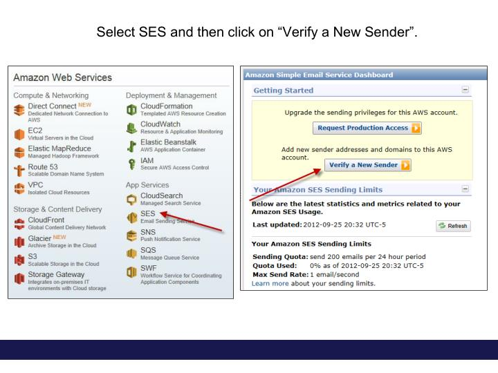 "Select SES and then click on ""Verify a New Sender""."
