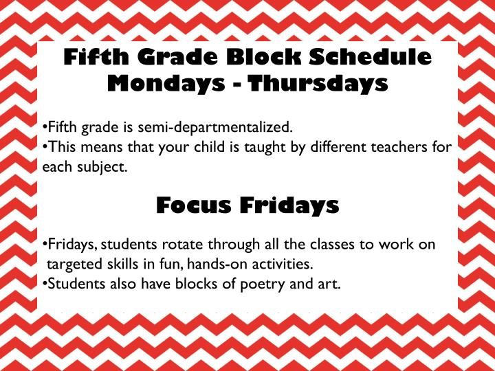 Fifth Grade Block Schedule