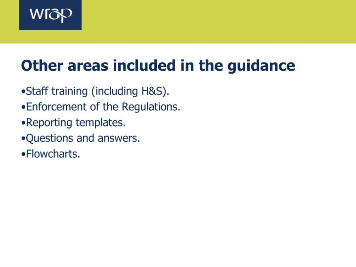 Other areas included in the guidance