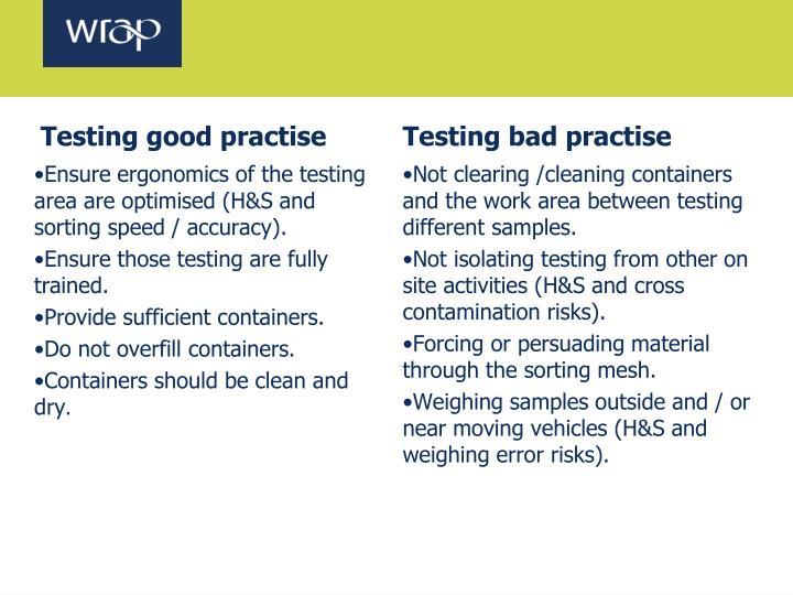 Testing good practise