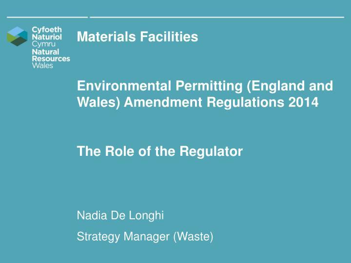 Materials Facilities