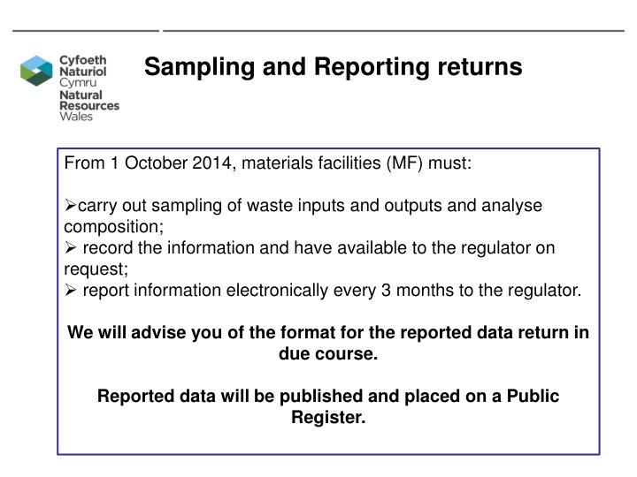 Sampling and Reporting returns