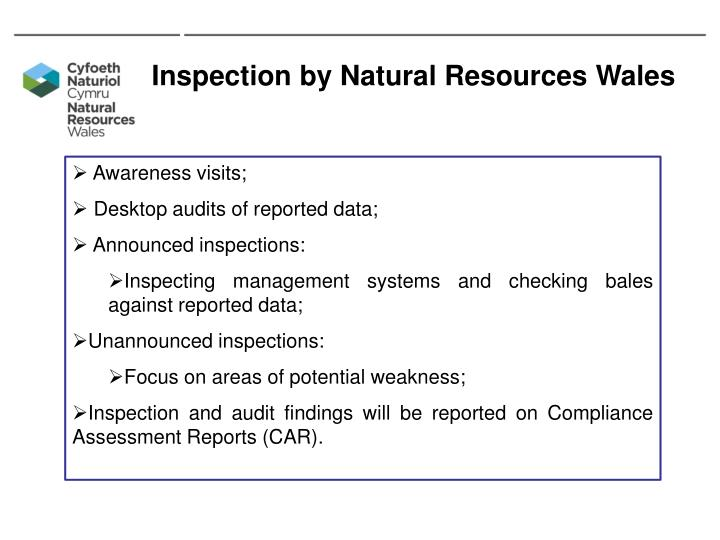 Inspection by Natural Resources Wales