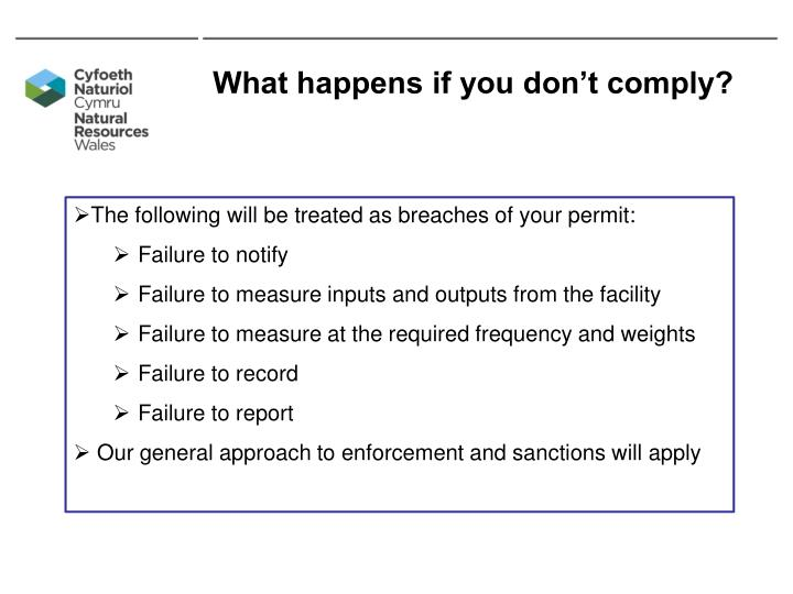 What happens if you don't comply?