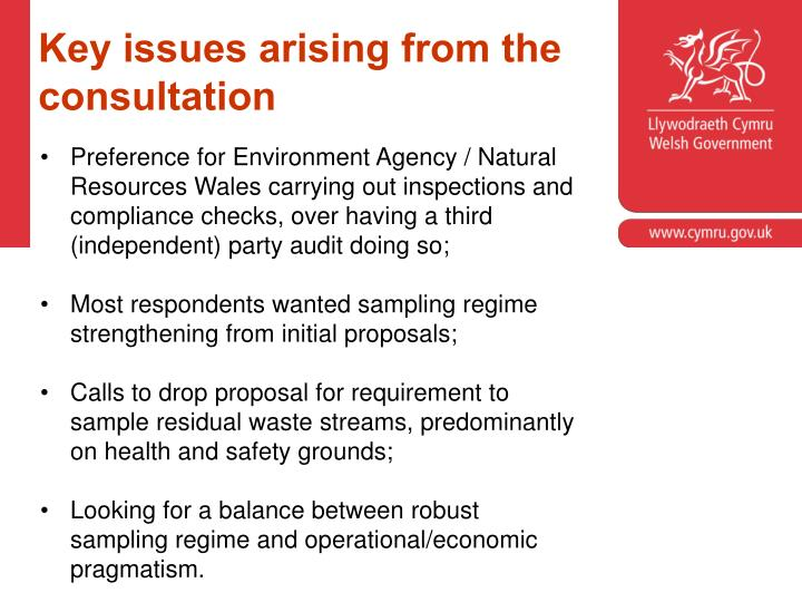 Key issues arising from the consultation
