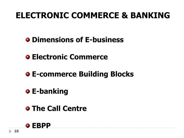 ELECTRONIC COMMERCE & BANKING