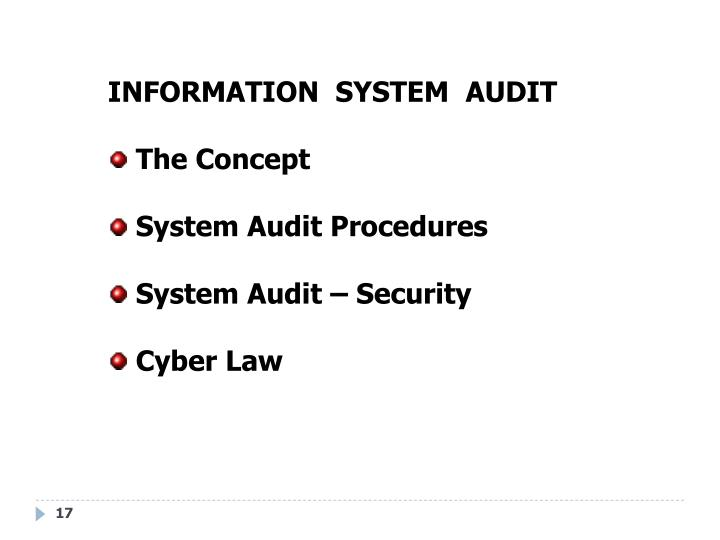 INFORMATION  SYSTEM  AUDIT