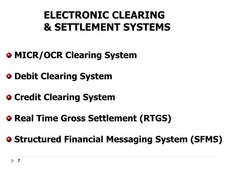 ELECTRONIC CLEARING