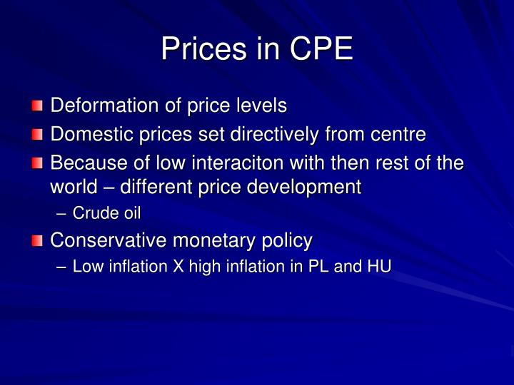 Prices in CPE