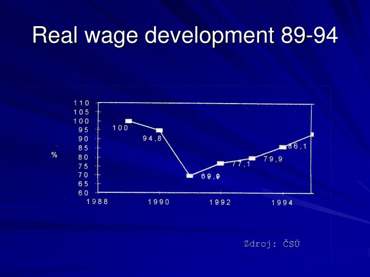 Real wage development 89-94