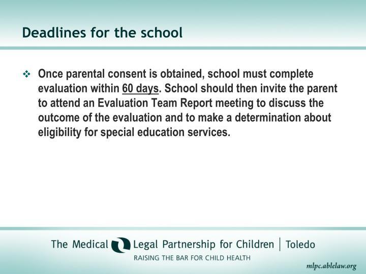 Deadlines for the school