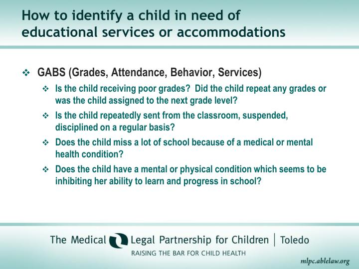 How to identify a child in need of