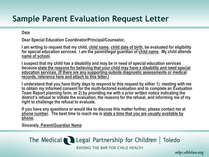 Sample Parent Evaluation Request Letter
