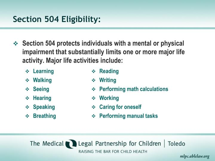 Section 504 Eligibility: