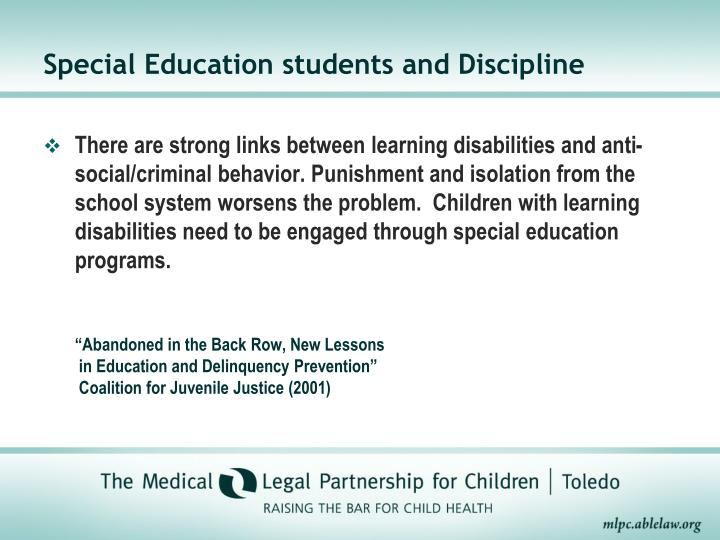 Special Education students and Discipline