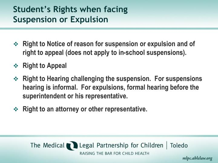 Student's Rights when facing