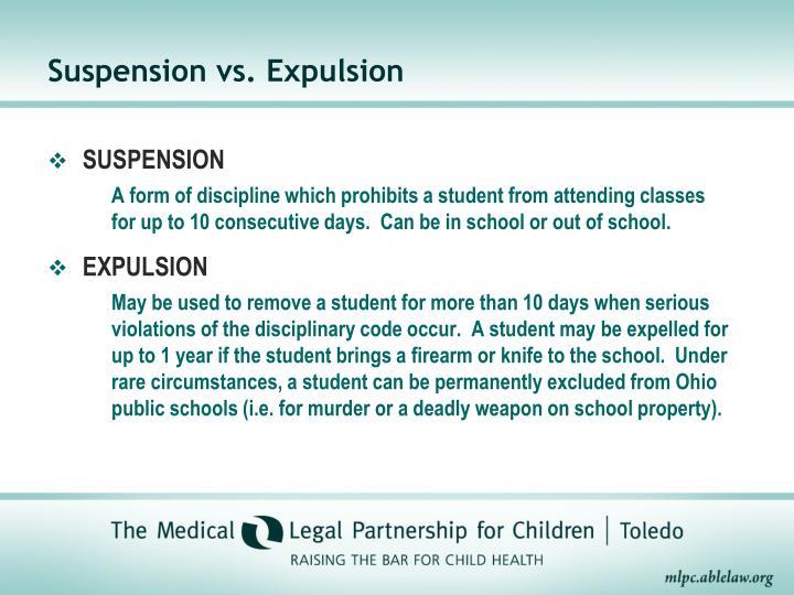 Suspension vs. Expulsion