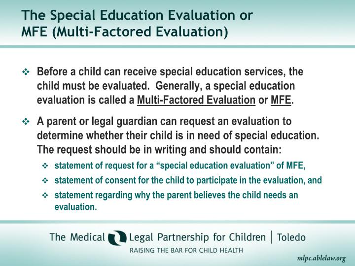 The Special Education Evaluation or