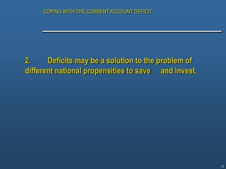 COPING WITH THE CURRENT ACCOUNT DEFICIT