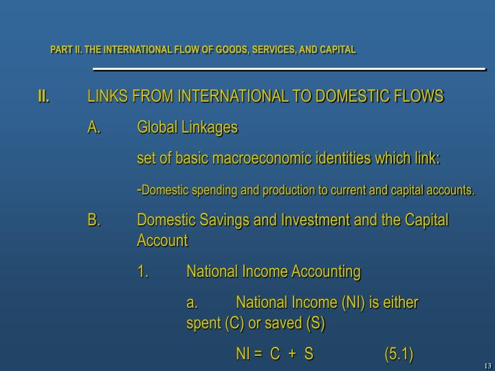 PART II. THE INTERNATIONAL FLOW OF GOODS, SERVICES, AND CAPITAL