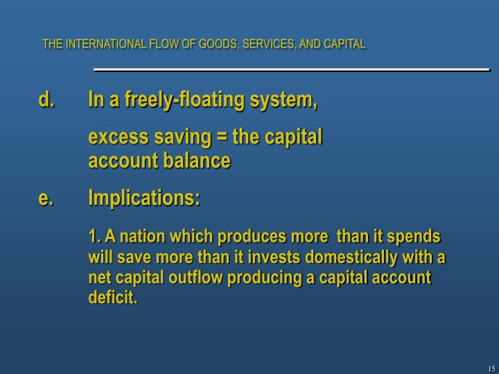 THE INTERNATIONAL FLOW OF GOODS, SERVICES, AND CAPITAL