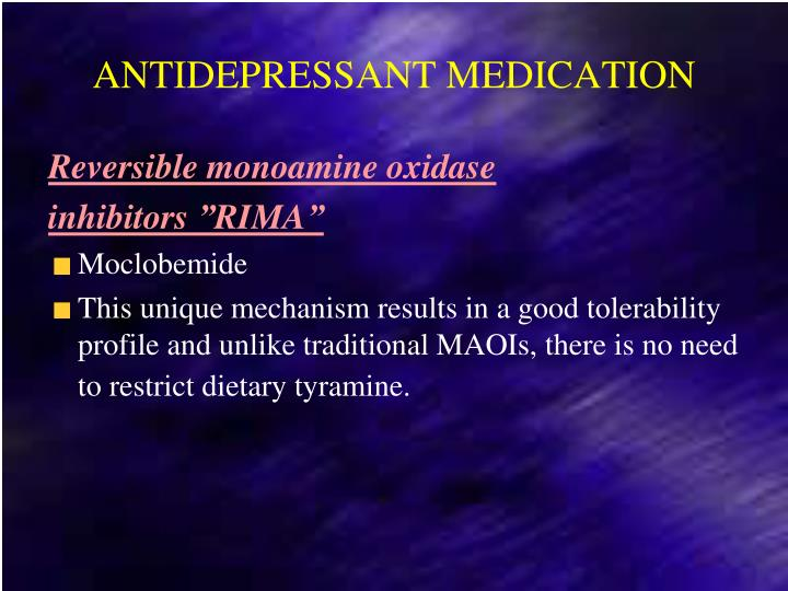 ANTIDEPRESSANT MEDICATION
