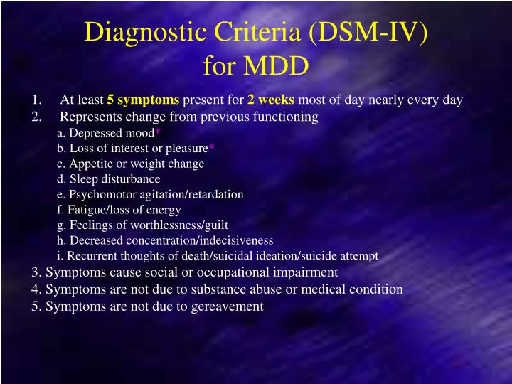Diagnostic Criteria (DSM-IV)