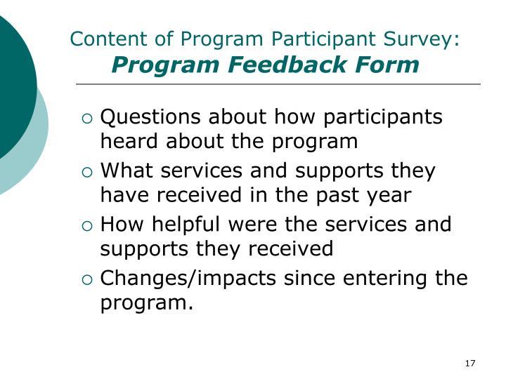 Content of Program Participant Survey: