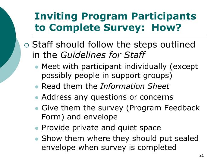 Inviting Program Participants to Complete Survey:  How?