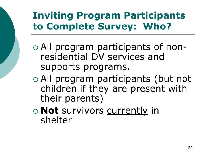 Inviting Program Participants to Complete Survey:  Who?