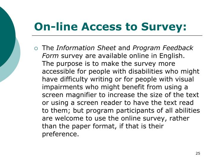 On-line Access to Survey: