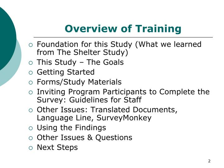 Overview of training