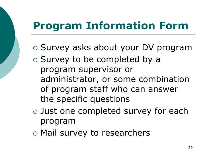 Program Information Form