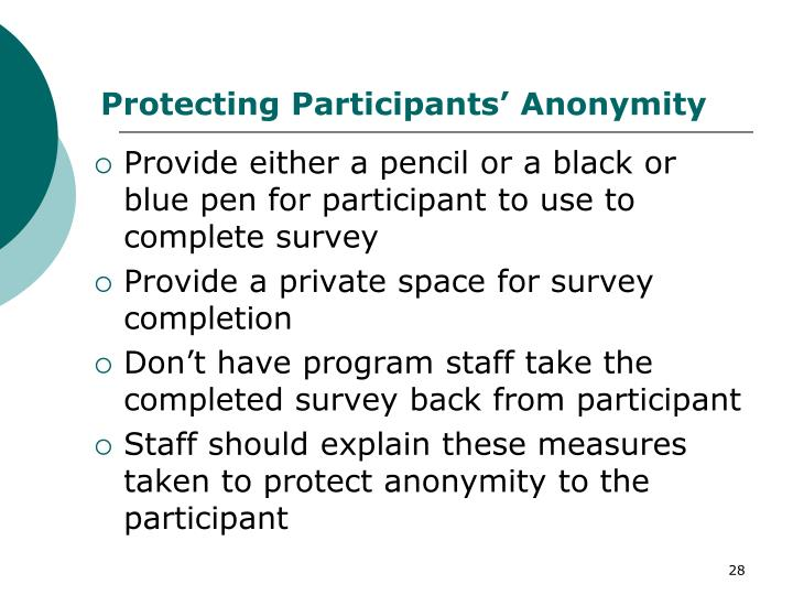 Protecting Participants' Anonymity